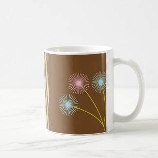 Pretty dandelions flowers and stripes mug, gift