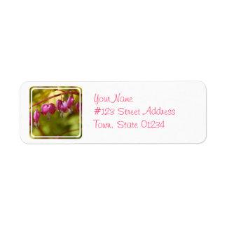 Pretty Dangling Bleeding Heart Flowers Return Address Label