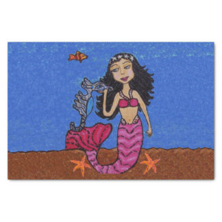 Pretty Dark Haired Mermaid Seahorse Fish Tissue Paper