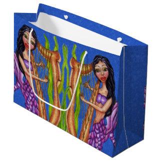 Pretty Dark Haired Purple Mermaid Harp Ocean Large Gift Bag
