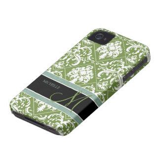 Pretty Dark Olive Green & white damask w/ monogram Case-Mate iPhone 4 Cases