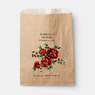Pretty Dark Red Floral Wedding Favour Bags