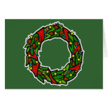 Pretty decorated wreath greeting card