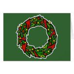 Pretty decorated wreath greeting card