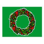 Pretty decorated wreath postcard