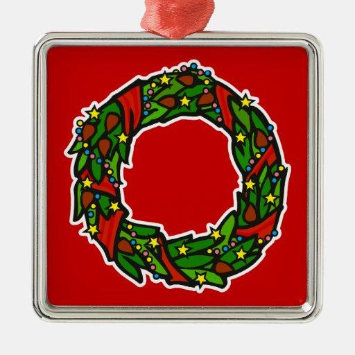 Pretty decorated wreath Silver-Colored square decoration