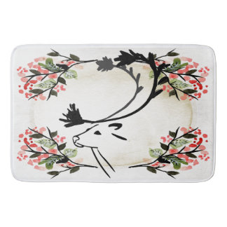 Pretty deer flower fancy Victorian  Bathroom mat