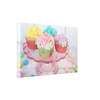 Pretty Delicious Floral Colorful Cupcakes Canvas Print
