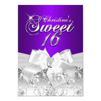 Pretty Diamond Bow Purple Sweet 16 Invite