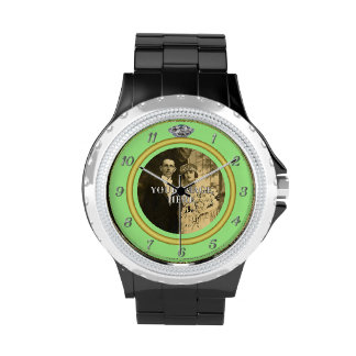 Pretty Diamond Wedding Ring with Photo on Green Watches