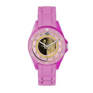 Pretty Diamond Wedding Ring with Photo on Pink Wrist Watches