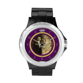 Pretty Diamond Wedding Ring with Photo on Purple Watch