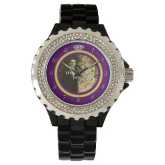 Pretty Diamond Wedding Ring with Photo on Purple Watch