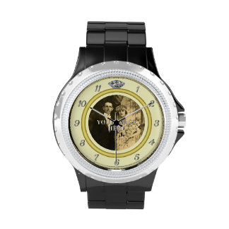 Pretty Diamond Wedding Ring with Photo on Yellow Wrist Watch