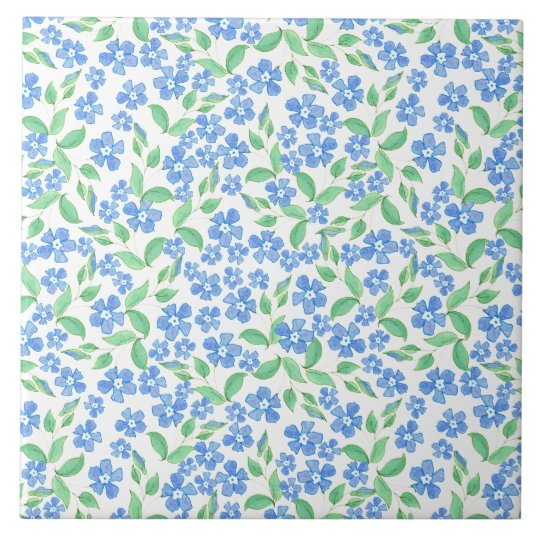 Pretty Ditsy Blue Green White Periwinkle Flowers Tile