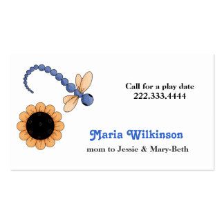 Pretty Dragonfly and Flower Mommy Card Pack Of Standard Business Cards