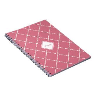 Pretty dusty pink white diamond pattern add name spiral note book