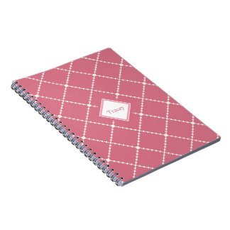 Pretty dusty pink white diamond pattern add name spiral notebook