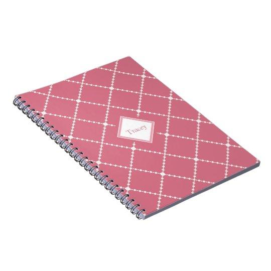Pretty dusty pink white diamond pattern add name