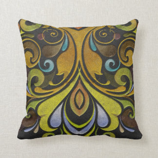 Pretty earth toned vintage print on throw pillow