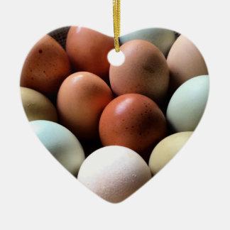Pretty Eggs From Chicken Farm Ceramic Heart Decoration
