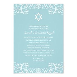 Pretty Elegant Blue Bat Mitzvah 13 Cm X 18 Cm Invitation Card