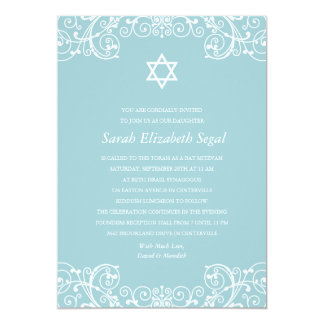 Pretty Elegant Blue Bat Mitzvah Card