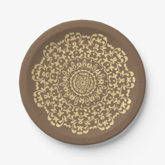 Pretty Elegant Gold Brown Lacy Patterned Paper Plate