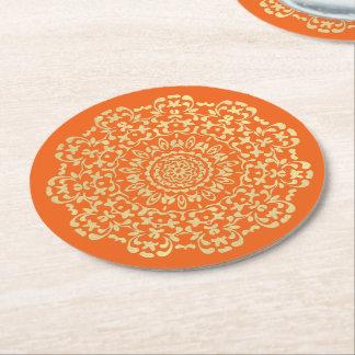 Pretty Elegant Gold Orange Lacy Patterned Round Paper Coaster
