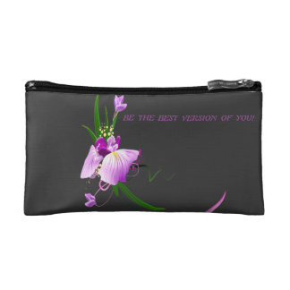 Pretty Elegant Purple Flower-Black Background Cosmetic Bag