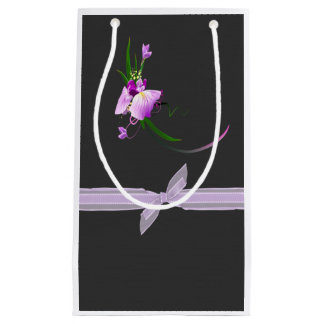 Pretty Elegant  Purple Flower-Black Background Small Gift Bag