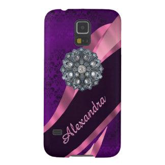 Pretty elegant purple personalized damask pattern galaxy s5 case