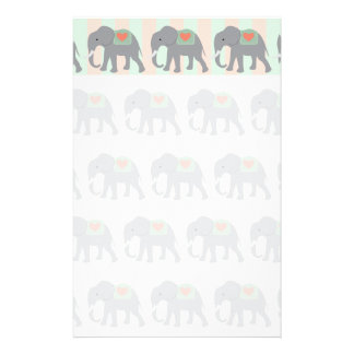 Pretty Elephants Coral Peach Mint Green Striped Stationery