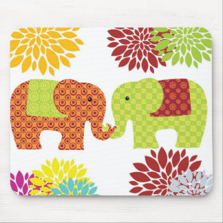 Pretty Elephants in Love Holding Trunks Flowers Mouse Pads