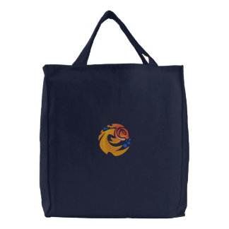 Pretty Embroidered Goldfish Tote Bag