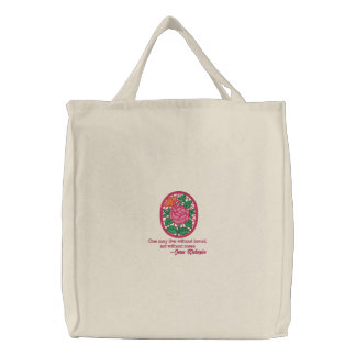 Pretty Embroidered Roses Design Tote Bag