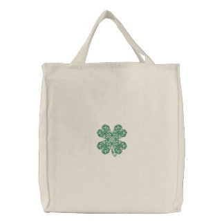Pretty Embroidered Shamrock Tote Bag