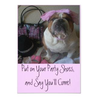 Pretty English Bulldog Party Invitations