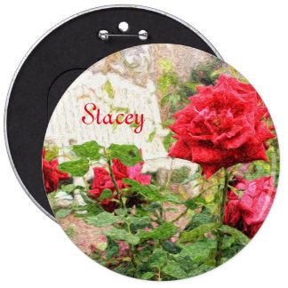 Pretty English Roses Red Flower White Bench Garden 6 Cm Round Badge