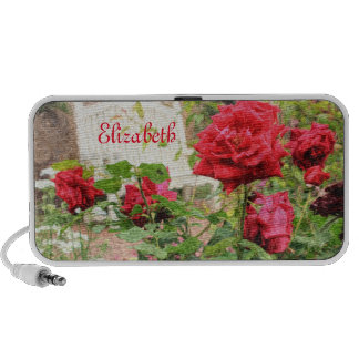 Pretty English Roses Red Flower White Bench Garden Mp3 Speakers