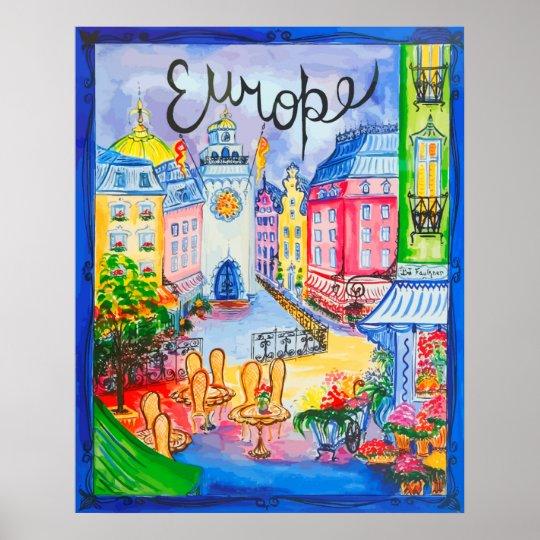 Pretty Europe City Scene Poster