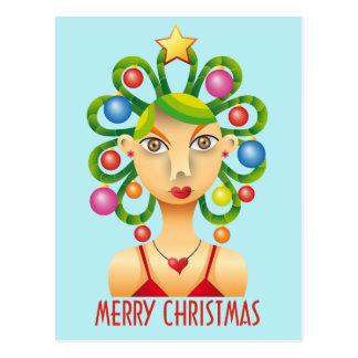 Pretty exotic hairdo Christmas Postcard