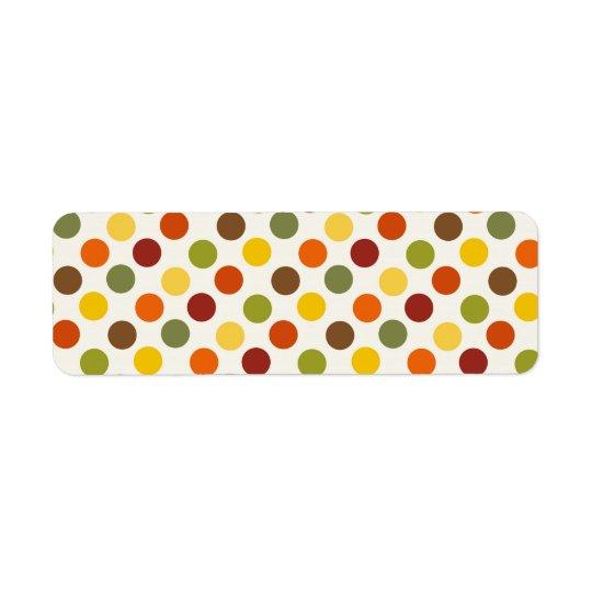 Pretty Fall Autumn Colours Polka Dots Pattern Return Address Label