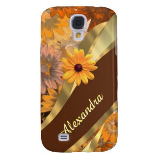 Pretty fall colored floral personalized pattern galaxy s4 case