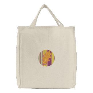 Pretty Fall Leaf Design Tote Embroidered Tote Bags