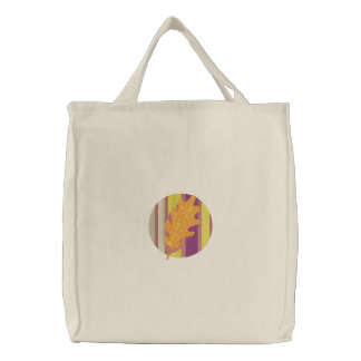 Pretty Fall Leaf Design Tote Embroidered Tote Bags