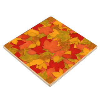 Pretty Fall Leaves Abstract Pattern Wood Coaster