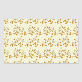 Pretty Fall Leaves with Scroll Pattern Rectangular Sticker
