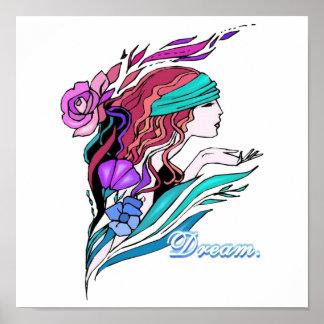 pretty fantasy girl dream poster