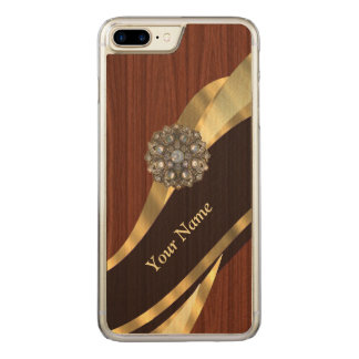 pretty faux cherry wood carved iPhone 8 plus/7 plus case